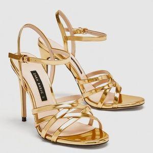 NWT Zara Laminated Strappy Sandals